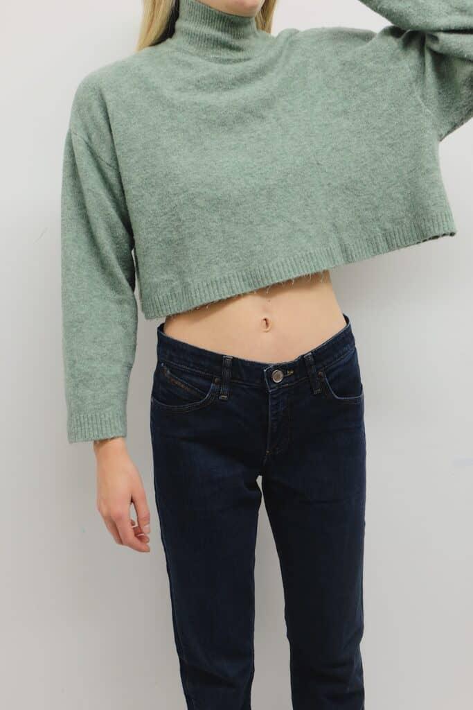 Mint green cropped knit